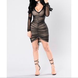 Black Ruched Mesh dress